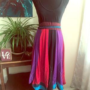 Sleeveless multi colored cotton midi dress
